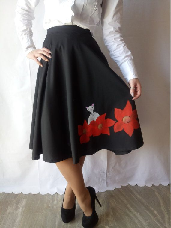 Black classic Circle Skirt with Handmade painted flowers and a cute cat!One of a Kind!