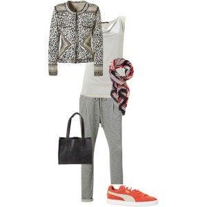 sweatpant met klassiek jasje (print) en rode sneakers