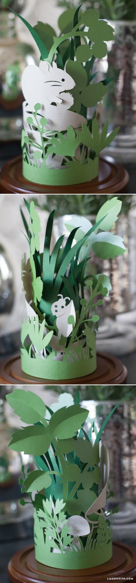 paper art. I'm pinning this as inspiration. I think I can get Panda to make plain grass cuts in two sizes and colors and we can tape them into a  cylinder like this and then apply felt lady bugs and butterflies...