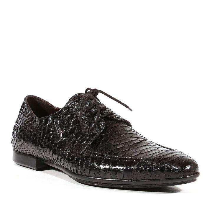 Cesare Paciotti Mens Shoes Python Lux Black Oxfords (CPM3017)