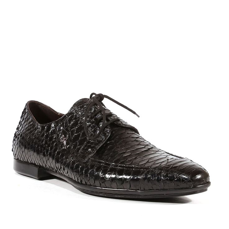 Cesare Paciotti Mens Shoes Python Lux Black Oxfords (CPM3017) Material: Python  Color: Black  Outer Sole: Rubber  Comes with original box and dustbag. Made in Italy. PI46315P-BLACK