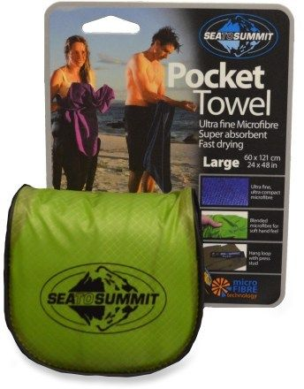 Pocket towel - Sea to Summit - Lightweight, silky polyester/nylon microfiber fabric absorbs lots of water - packs into its own zippered storage pouch