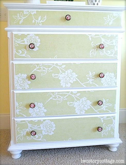 Two Story Cottage: Wallpaper Dresser Tutorial Complete With Don'ts
