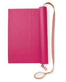 SO EASY! totable yoga mat. just lay a leash across it, roll it up, then clip the wrist/holder!
