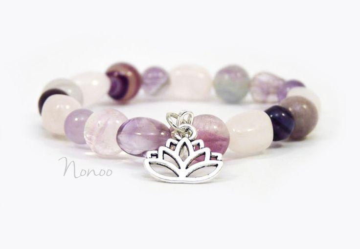 Amethyst, rose quartz, fluorite gemstone bracelet with lotus charm. #niaásány #nia #ásványékszer