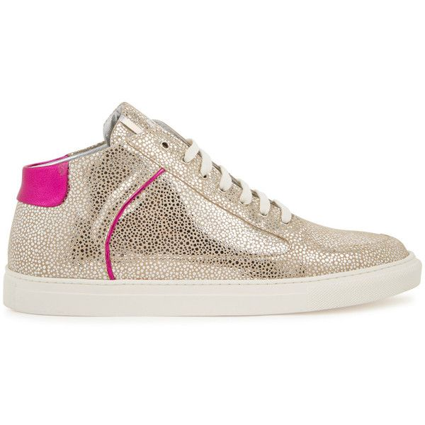 ROSE RANKIN taupe suede mid-top trainers Silver dot print, designer-stamped tongue, metallic pink heel panel and trims, white rubber sole, round toe Lace-up fr…