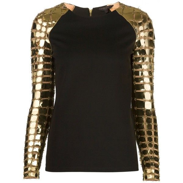 MANISH ARORA - Armored-Sleeve Top - 43115 MZW15 BLACK/GOLD - H. (86105 RSD) ❤ liked on Polyvore featuring tops, shirts, long sleeves, shirt tops, long sleeve tops, gold long sleeve top, gold top and sleeve top
