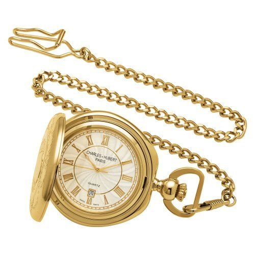 Charles-Hubert, Paris 3781 Gold-Plated Hunter Case Quartz Pocket Watch Charles-Hubert, Paris. $104.95. Swiss parts quartz movement. Deluxe gift box. White dial with date display. 14k gold-plated brass 48mm hunter case with a matching curb chain