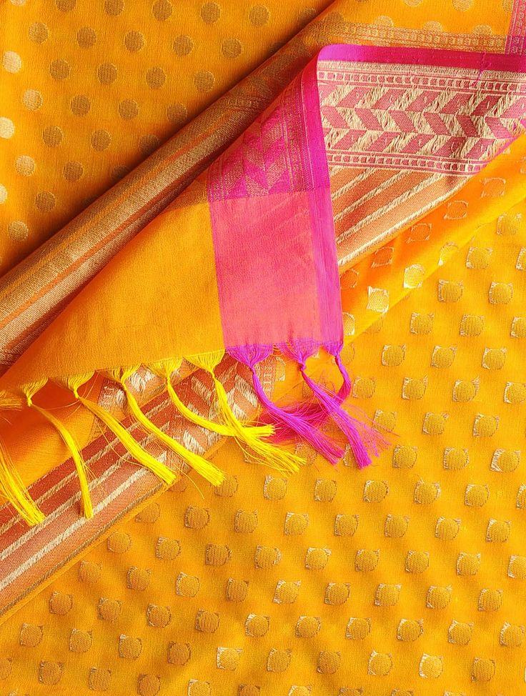 Orange-Fuschia Banarasi Silk Booti Dupatta   The Indian ...