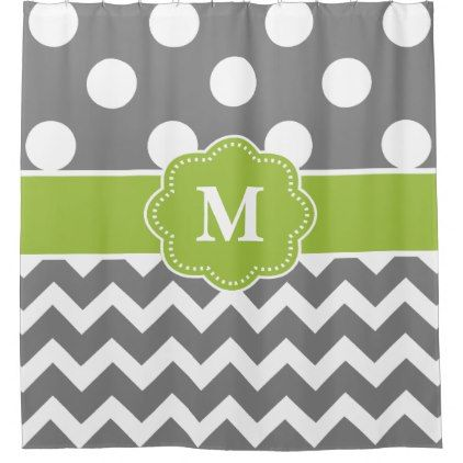 Gray Green Dot Chevron Monogram Shower Curtain - shower curtains home decor custom idea personalize bathroom
