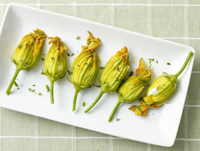 Squash Blossoms Stuffed with Goat Cheese & Herbs Recipe