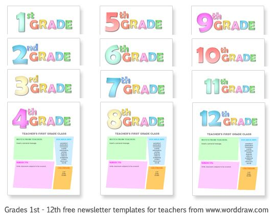 Grades 1-12 free templates for teachers to make classroom newsletters or lesson plan handouts.