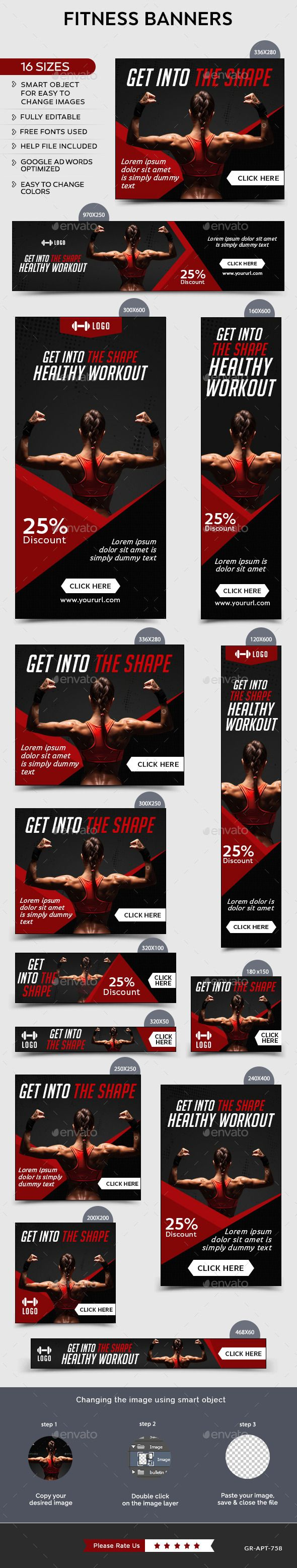 Fitness Banners Template #design Download: http://graphicriver.net/item/fitness-banners/12133644?ref=ksioks