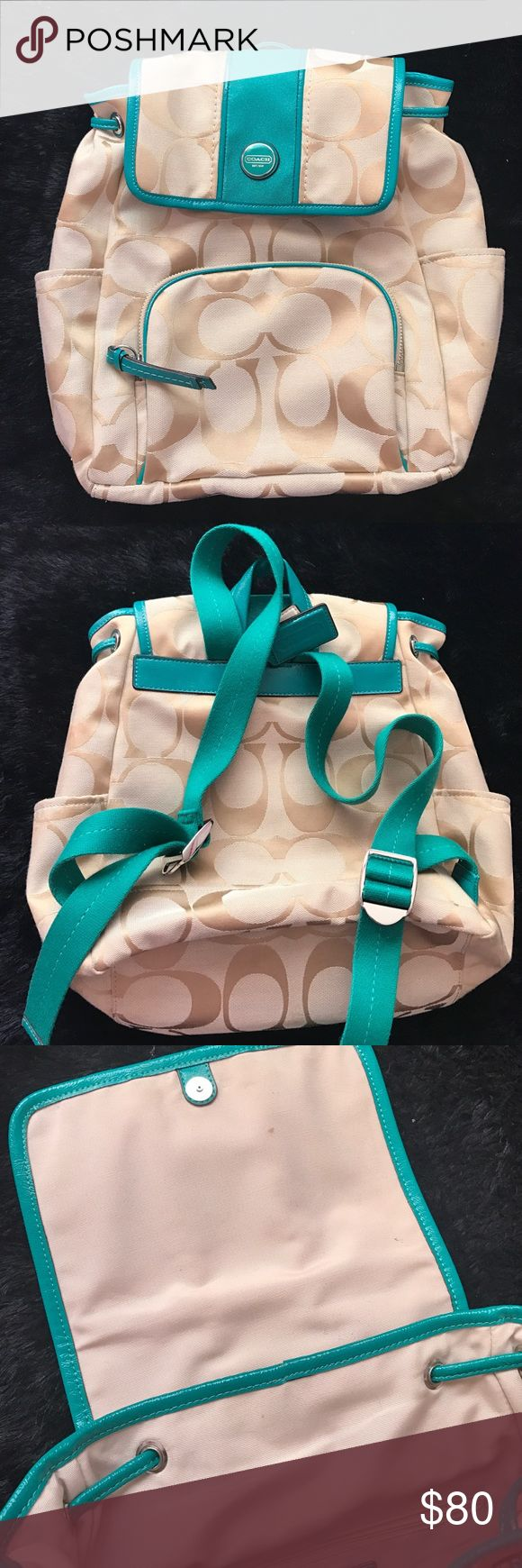 Coach Backpack Bookbag Authentic Coach Teal and Beige Backpack: Two exterior open pockets, one exterior zip pocket (with about a 2 inch blue pen mark), two interior pockets, one interior zip pocket. Coach Bags Backpacks