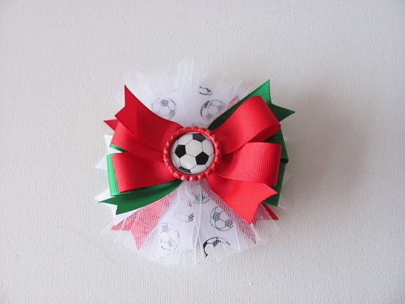 Mexican Soccer Inspired Hairbow / Tricolor by LittleAlinasBowtique, $6.00