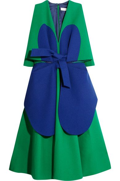 Green and blue cotton-crepe Concealed hook and zip fastening at back 100% cotton