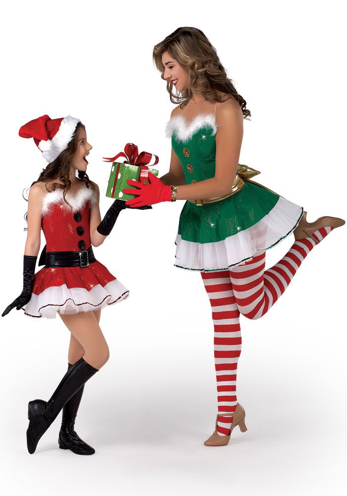 H280 - Jingle Bells, elf, elves, santa, mrs. clause, girl's santa costume, santa dance costume, elf dance costume