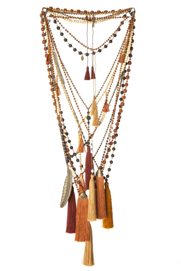 Earthy boho chic tassel necklaces