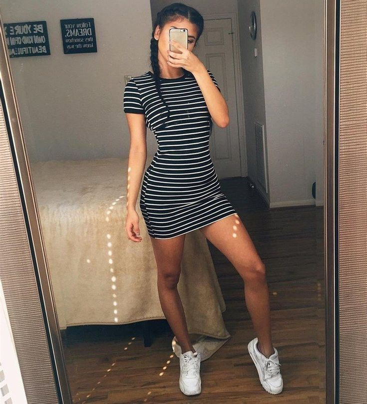 Summer New Round Neck Striped Short-sleeved Dress #kendalljenneroutfits