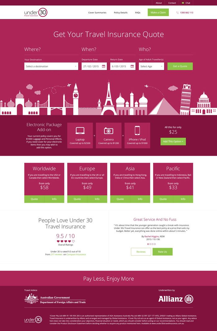 26 Excellent Insurance Websites Inspiration Travel Insurance