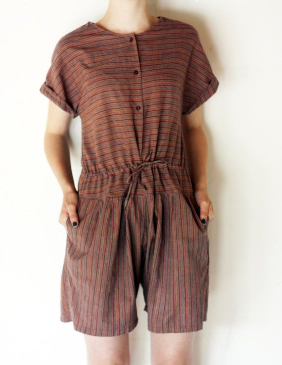 70's striped playsuit