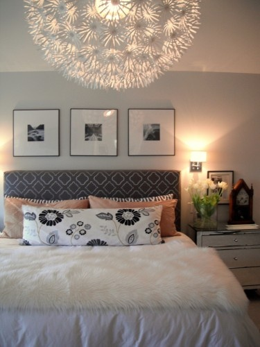 need something above bed..3 prints might be nice..(via Amanda Forrest  Interior Design) | 8 lp makeover | Pinterest | Amanda forrest, Interiors  and Bedrooms