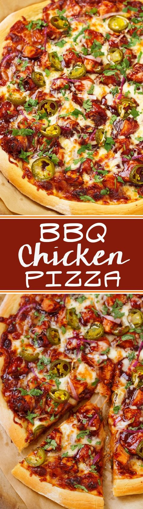 BBQ Chicken Pizza - made with grilled chicken, sliced jalapenos and red onions, and cilantro, So good you'll never go to CPK again!#bbqchickenpizza #chickenpizza #bbqpizza   Littlespicejar.com @Marzia   Little Spice Jar