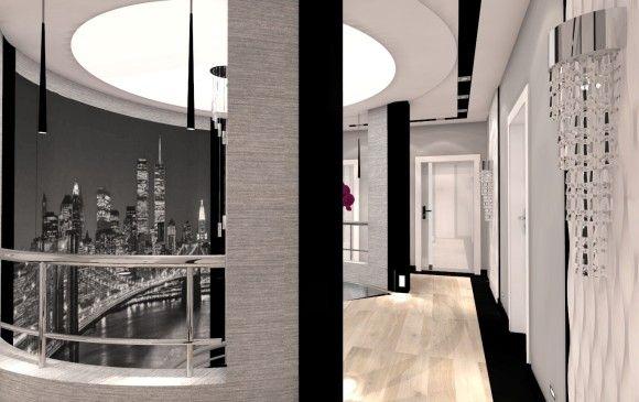 Styl nowoczesny ,łącznie kształtów owalnych i prostych. Właścicielą zależało na spójnej koncepcji z mocnymi akcentami . Projekt wyróżnia koncepcja ram w kolorze czarnym, które pojawiają się w salonie , kuchni i łazienkach.