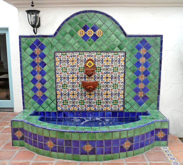 Wall fountain using mexican tiles by kristiblackdesigns - Spanish style water fountains ...