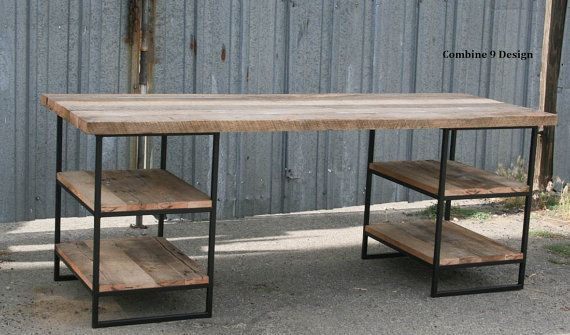 Escritorio de madera reciclada con estantes. Acero. Dimensiones personalizadas y configuraciones disponibles. Vintage Industrial. Urbano. Moderno. Rústica. Tabla.