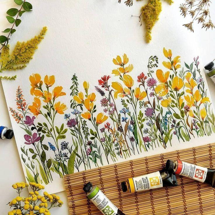 """Floral Watercolor Hub auf Instagram: """"Schöne ge… – #Auf #floral #ge #gelb #… – Kochen"""