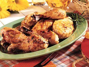 From Betty's Soul Food Collection...  A real peach of a recipe, with tender chicken drenched in fruit preserves and flavored with piquant chopped green chiles. Add fresh green beans and cornbread for a primo dinner.