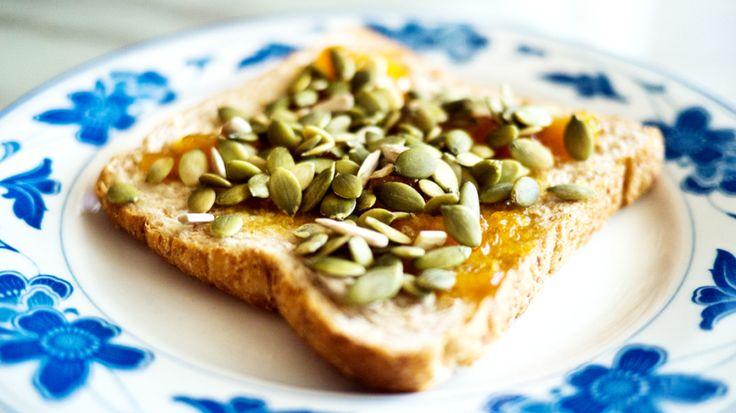 sunflower seeds on marmalade toast