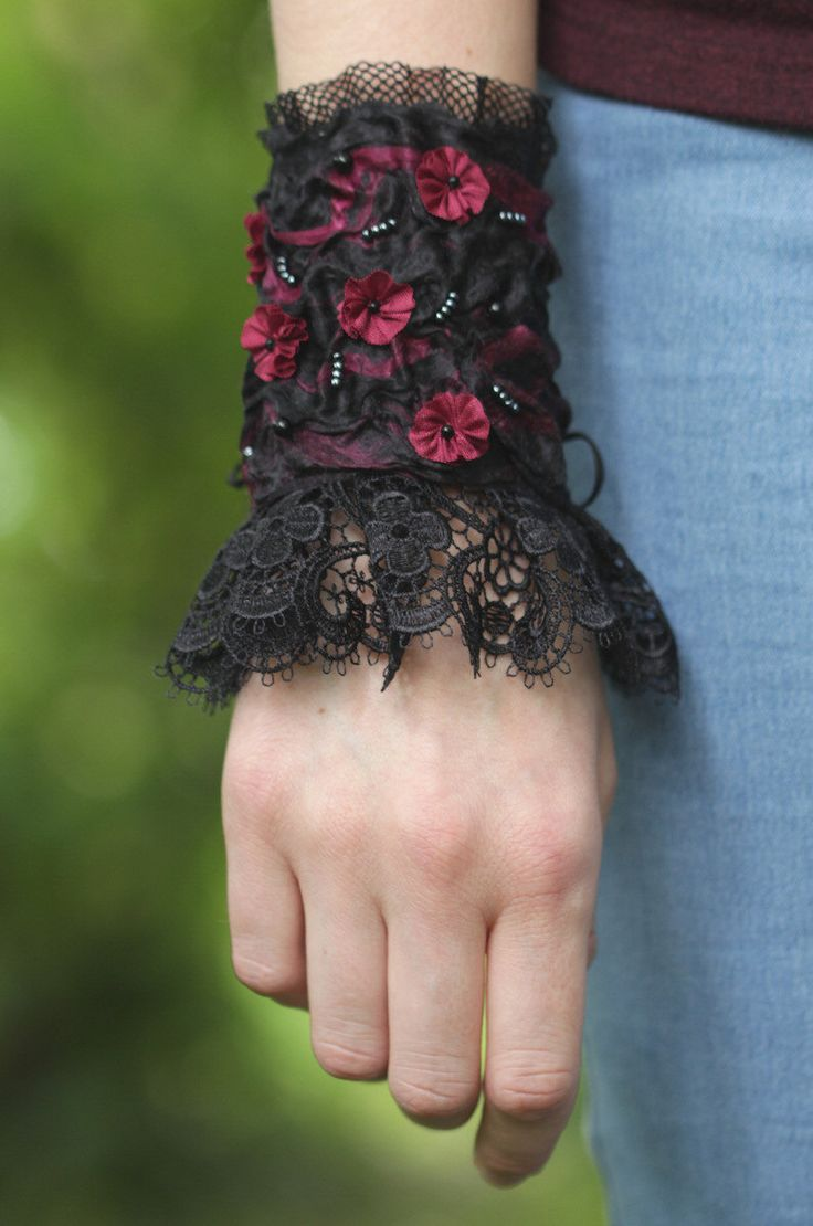 Gothic Bracelet, wrist cuff, black and magenta with lace and flowers, wrist corsage bracelet, wearable art jewelry by mormolocdesign on Etsy https://www.etsy.com/listing/244552961/gothic-bracelet-wrist-cuff-black-and