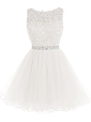 ALAGIRLS Short Beaded Prom Dress Tulle Applique Homecomin...