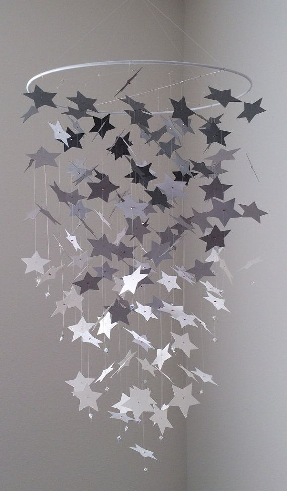 star light, star bright - Star mobile - gray and white on Etsy, $40.00