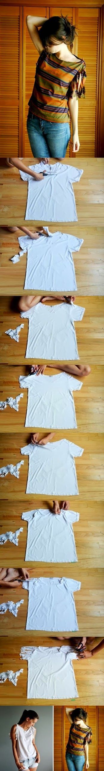 DIY : No-Sew Refashion a Basic Tee                                                                                                                                                     More