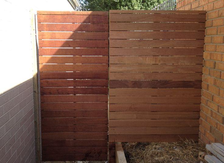 Horizontal merbau single pedestrian steel frame gate with ringlatch and padbolt