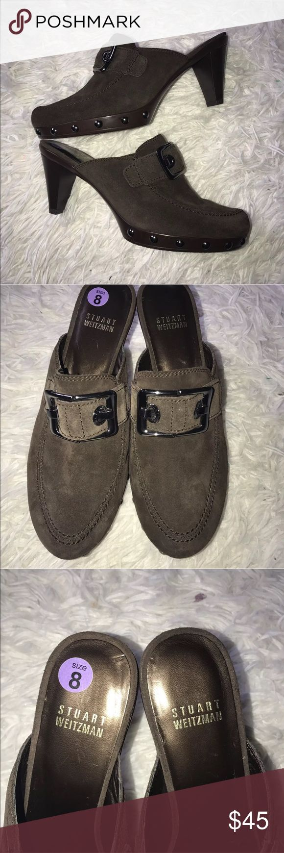 Stuart Weitzman women's 8 brown studded clogs Stuart Weitzman  Women's size 8  Brown mules/clogs  Open back  Studded front  Great condition. Stuart Weitzman Shoes Mules & Clogs