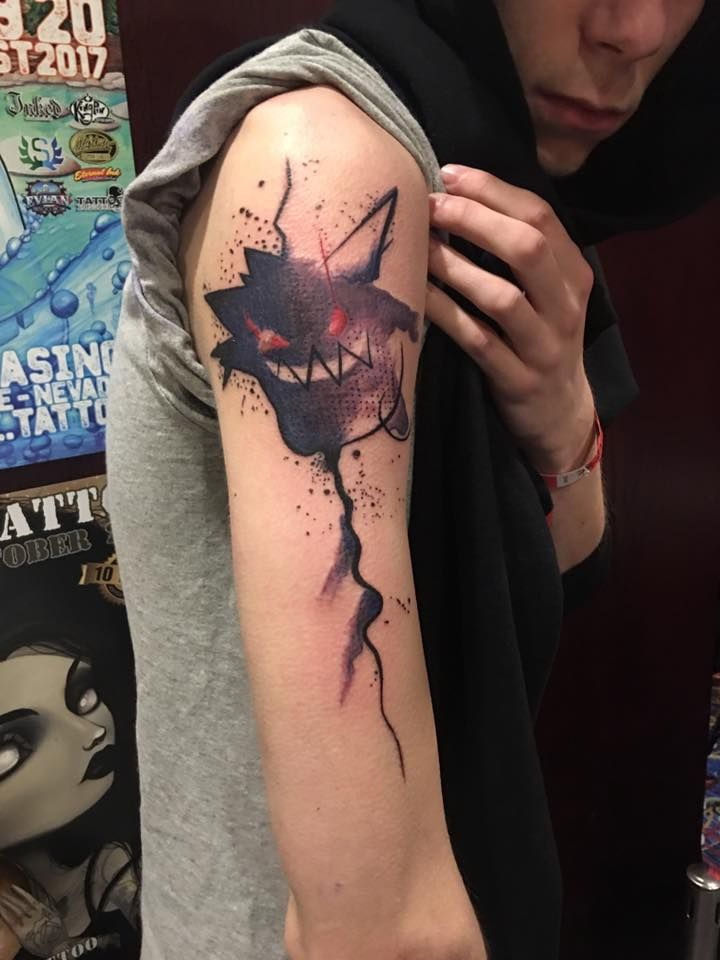 Abstract gengar tattoo