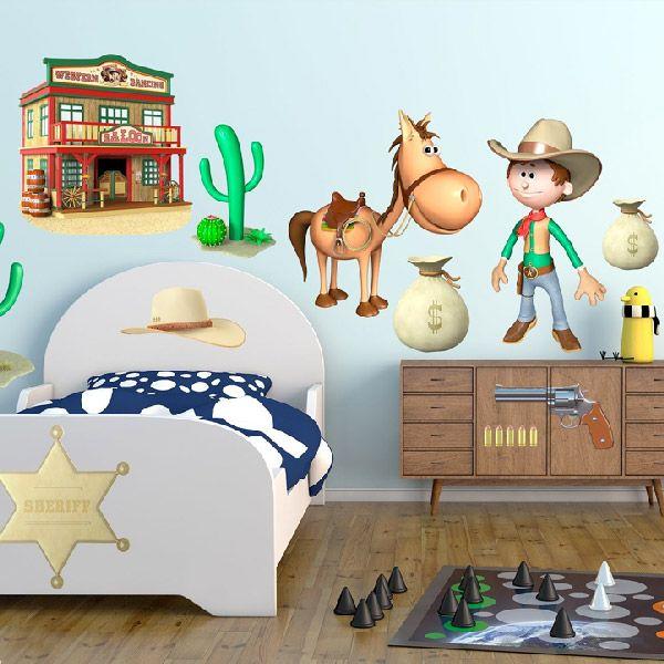 Adesivi per bambini: Kit Cowboy ovest. Adesivi murali bambini a kit. #adesivimurali #decorazione #modelli #mosaico #cavallo #saloon #cowboy #sheriff #StickersMurali