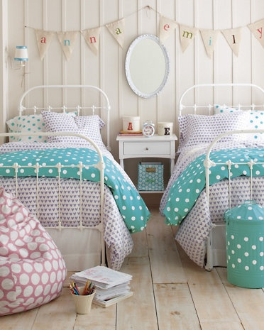 Dot to Dot Percale Bedding - Garnet Hill, for the girl's room one day