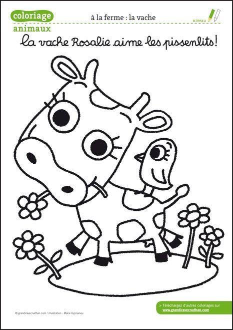 Coloriage animaux de la ferme à télécharger pdf - la vache