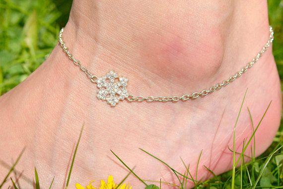 Silver Snowflake Anklet  Rhinestone Anklet  Snowflake