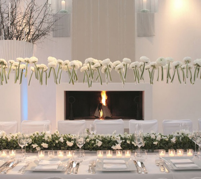 Flower Arrangement Ideas For Dinner Party Part - 17: Side View Of Unique Wedding Centerpiece. White Flowers In Test-tube Vases,  Hanging From The Ceiling By Clear Fishing Line. Or Hang Them Upside Down So  You ...