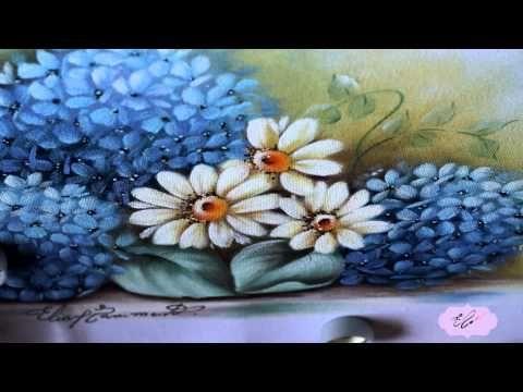 Pintura em tecido - Eliane Nascimento: Hortênsias e amor perfeito. - YouTube
