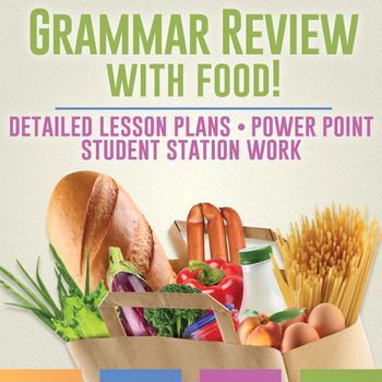 Grammar Review With Food: review grammar with this fun activity where students analyze language on food products - and then eat! Detailed lesson plans and group work included.