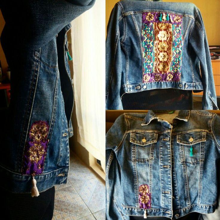 Personalización de chaqueta de mezclilla con toque estilo Boho. Trabajo realizado a mano.