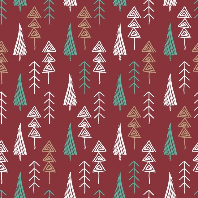 Vintage Christmas Tree Seamless Pattern Hand Drawn Style Vector And Png Vintage Christmas Tree Christmas Tree Drawing Vintage Christmas
