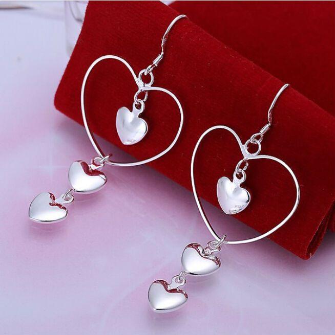 Сердце, сердце посеребренные Моды большие серьги Ювелирные Изделия кристалл серьги модные женские серьги бижутерия